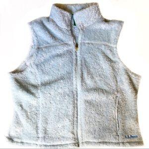 LL Bean aqua blue fuzzy vest EUC! Size XL